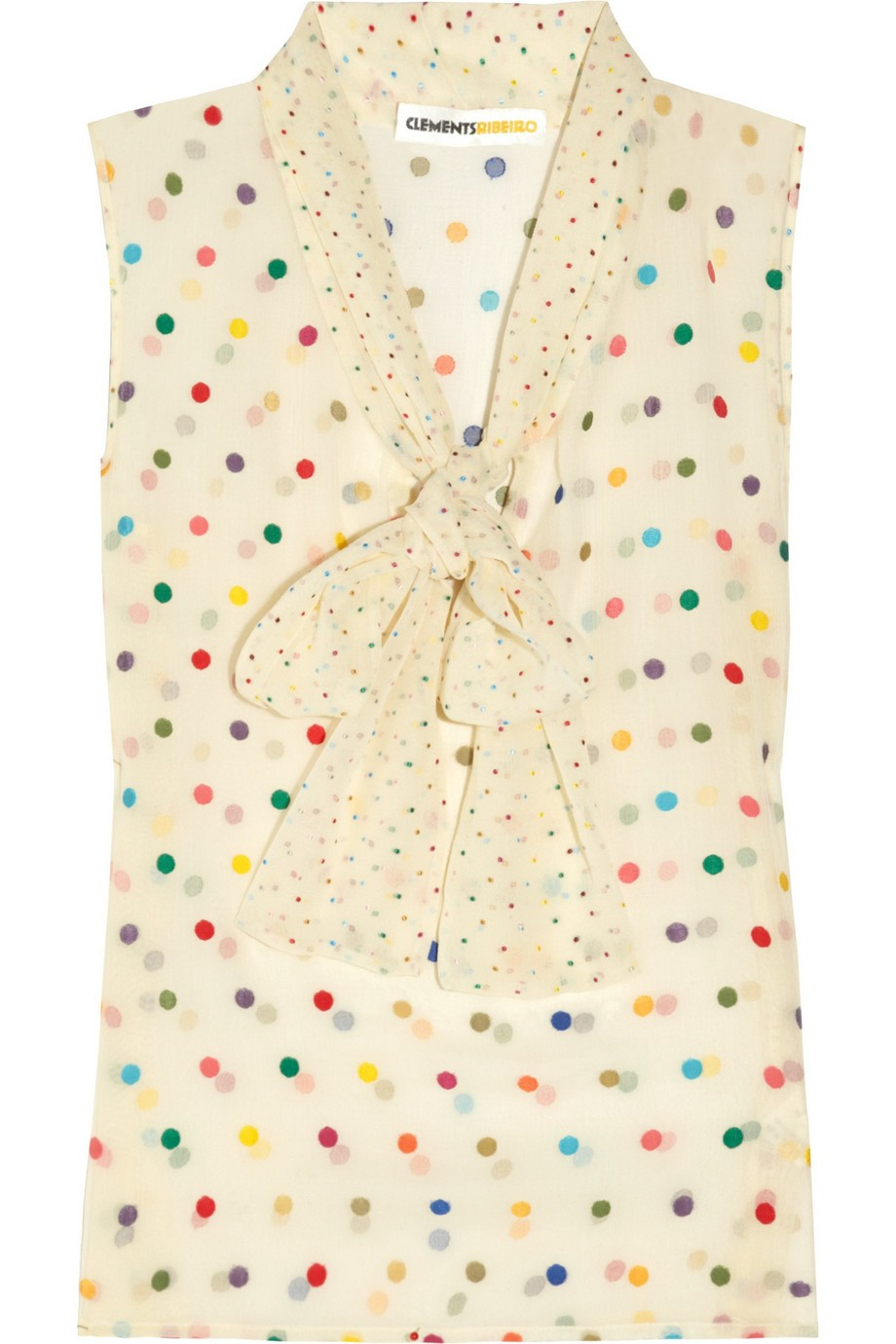 Elizabeth polka-dot silk-blend chiffon blouse