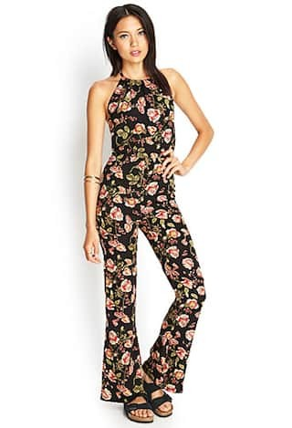 Floral Print Halter Jumpsuit
