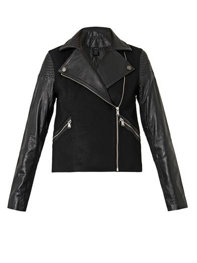 Karlie leather and wool-blend jacket