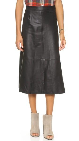Zip Leather Midi Skirt