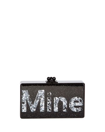 Jean Mine Acrylic Clutch Bag, Black/Silver