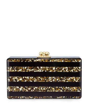 Jean Confetti Striped Acrylic Clutch Bag, Black/Gold