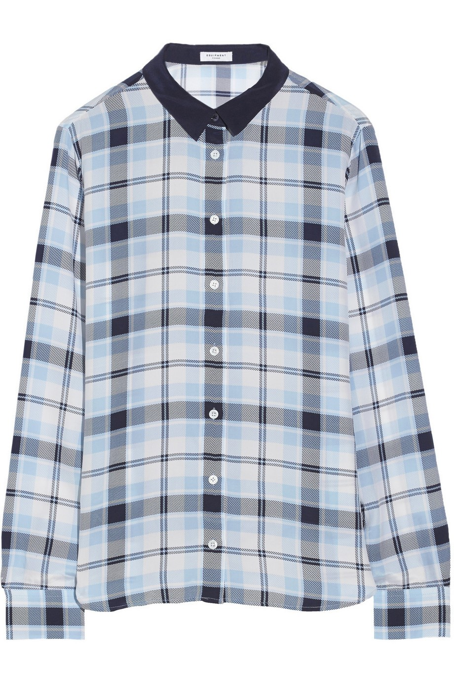 Audrey plaid-print washed-silk shirt