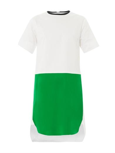Bi-colour cotton shift dress