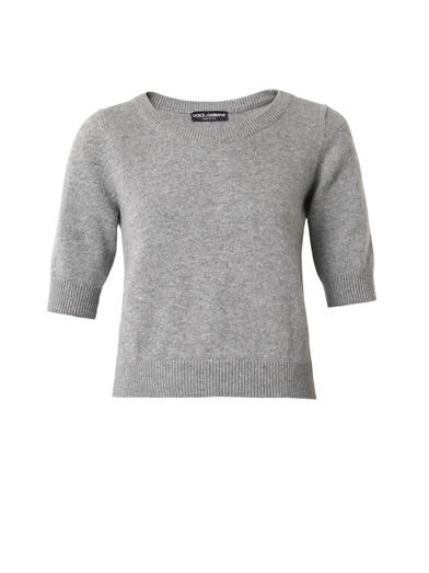 Short-sleeved cashmere sweater