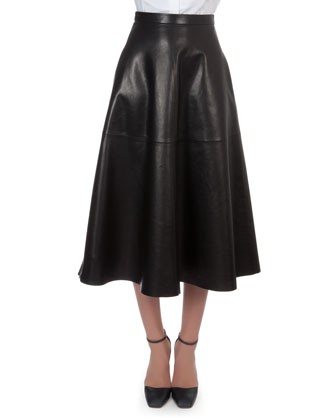 Long Leather Flare Skirt