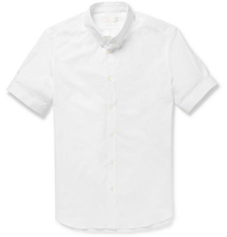 Slim-Fit Short-Sleeved Cotton-Blend Shirt