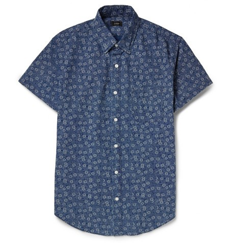 Flower-Print Cotton-Chambray Short-Sleeve Shirt