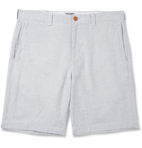 Stanton Striped Cotton and Linen Shorts