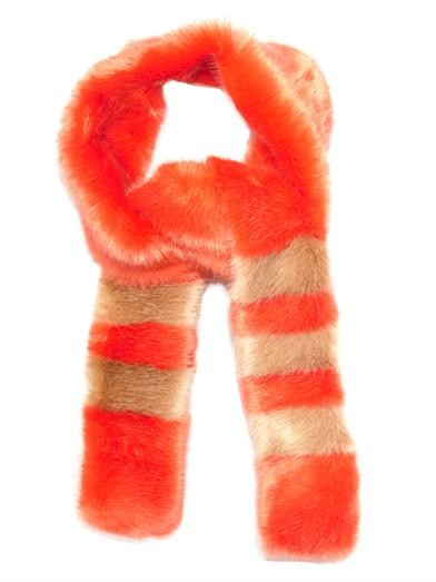 Ivana striped faux-fur scarf