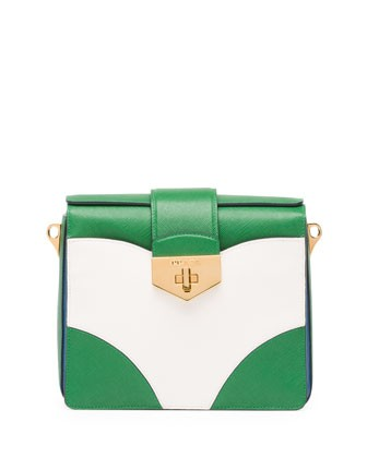 Bicolor Saffiano Turn Lock Shoulder Bag, Green/White/Blue (Verde Bianco Cobalto)