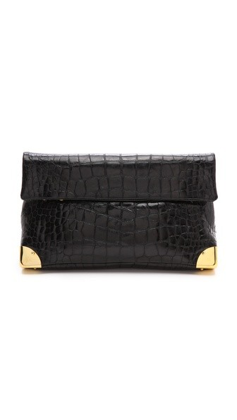 Black Crocodile Small Duo Clutch