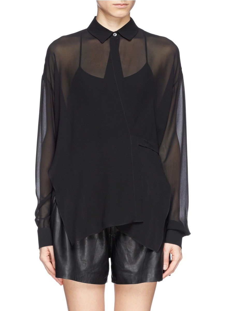 Sheer silk crepe wrap blouse