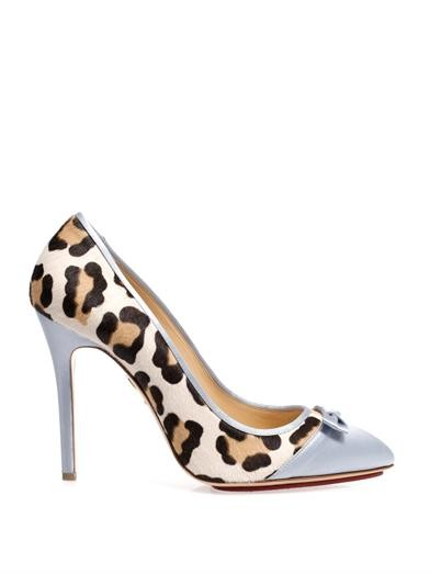 Grace satin and calf-hair pumps