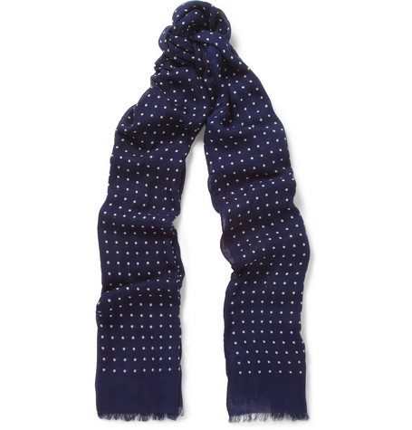 Spot-Print Modal and Cashmere-Blend Scarf