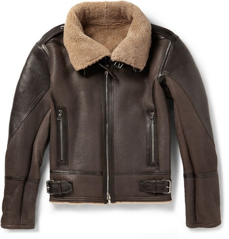 Shearling and Leather Aviator Jacket