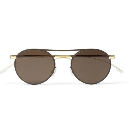 Tore Lightweight Round-Frame Metal Sunglasses