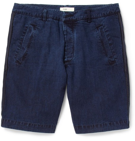 Regular-Fit Washed-Denim Shorts