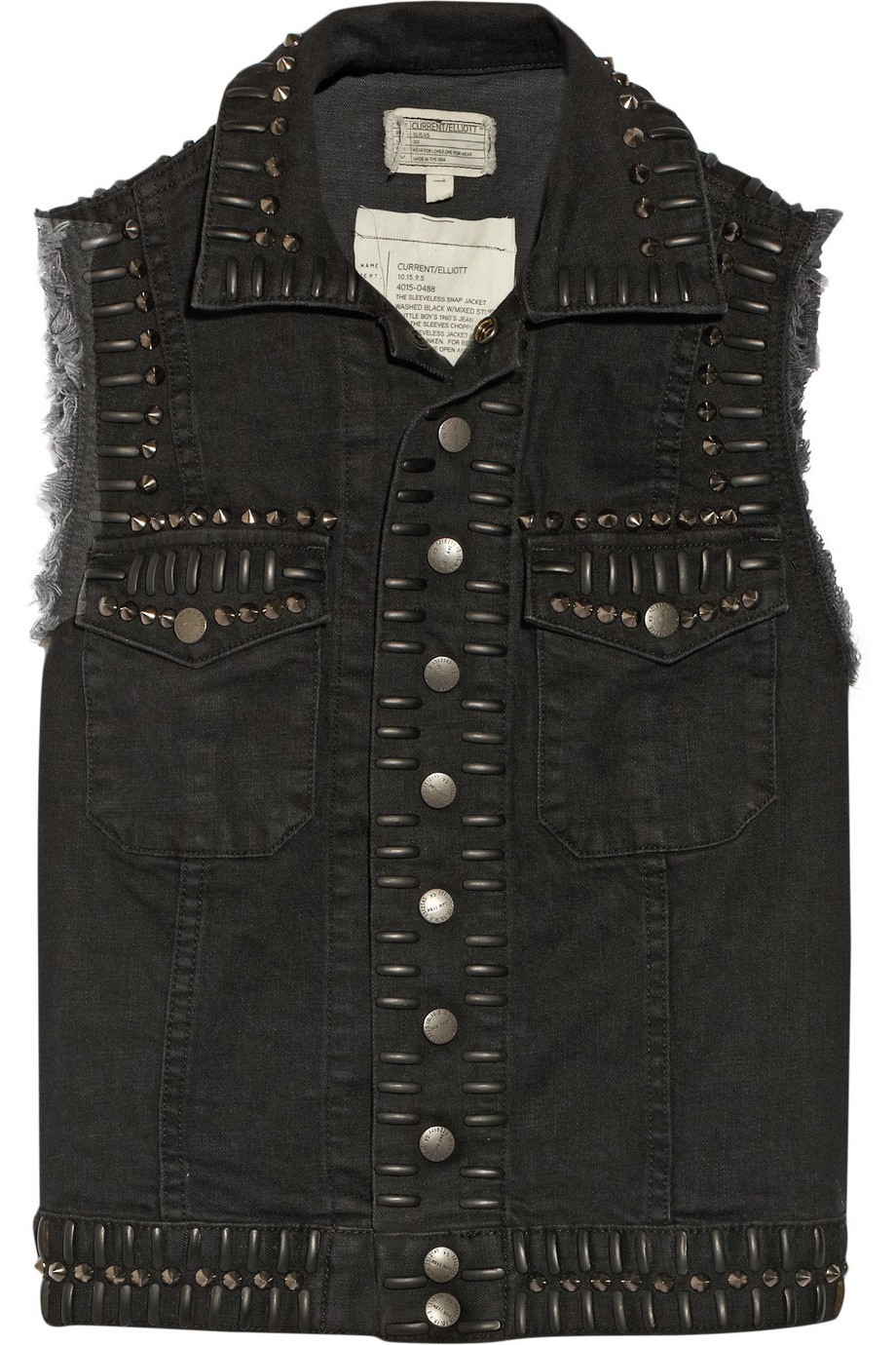 The Sleeveless Snap stretch-denim vest