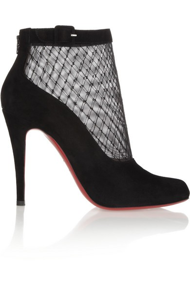 Resillissima 100 suede and mesh ankle boots