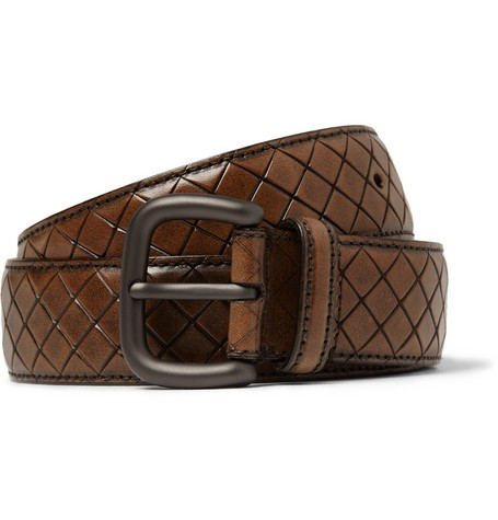 Brown 3.5cm Intrecciato-Effect Leather Belt