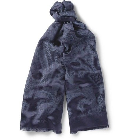 Paisley Jaquard Silk and Wool-Blend Scarf