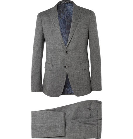 Grey Slim-Fit Patterned Wool Suit