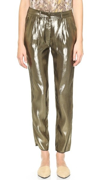 Pleated Metallic Pants