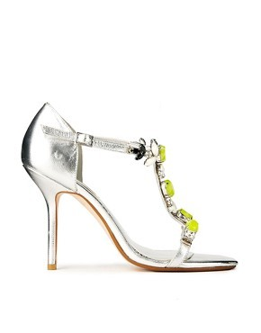 Dune Hummingbird Green Gem Silver Strappy Heeled Sandals