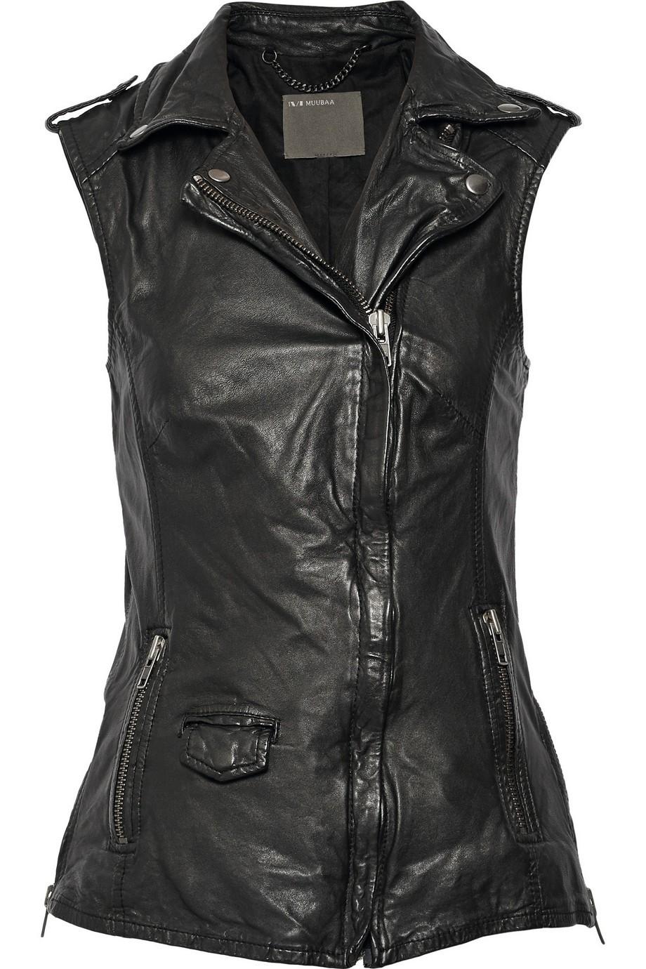 Preta leather biker vest