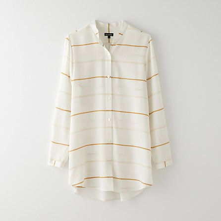 band collar boyfriend blouse