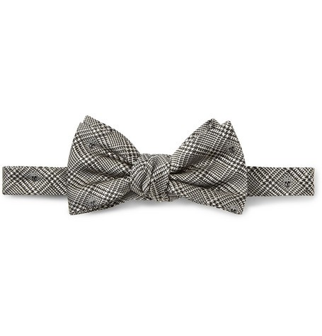 Skull-Embroidered Prince of Wales Check Silk Bow Tie