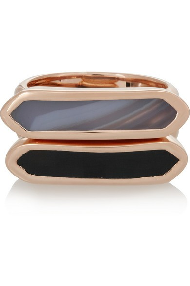 Baja set of two rose gold-plated rings