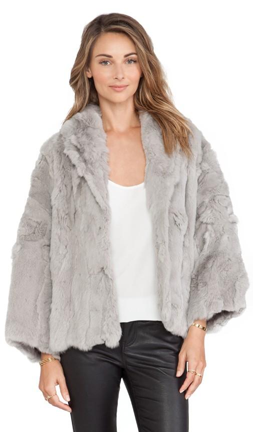 Textured Rex Little Swing Rabbit Fur Jacket
