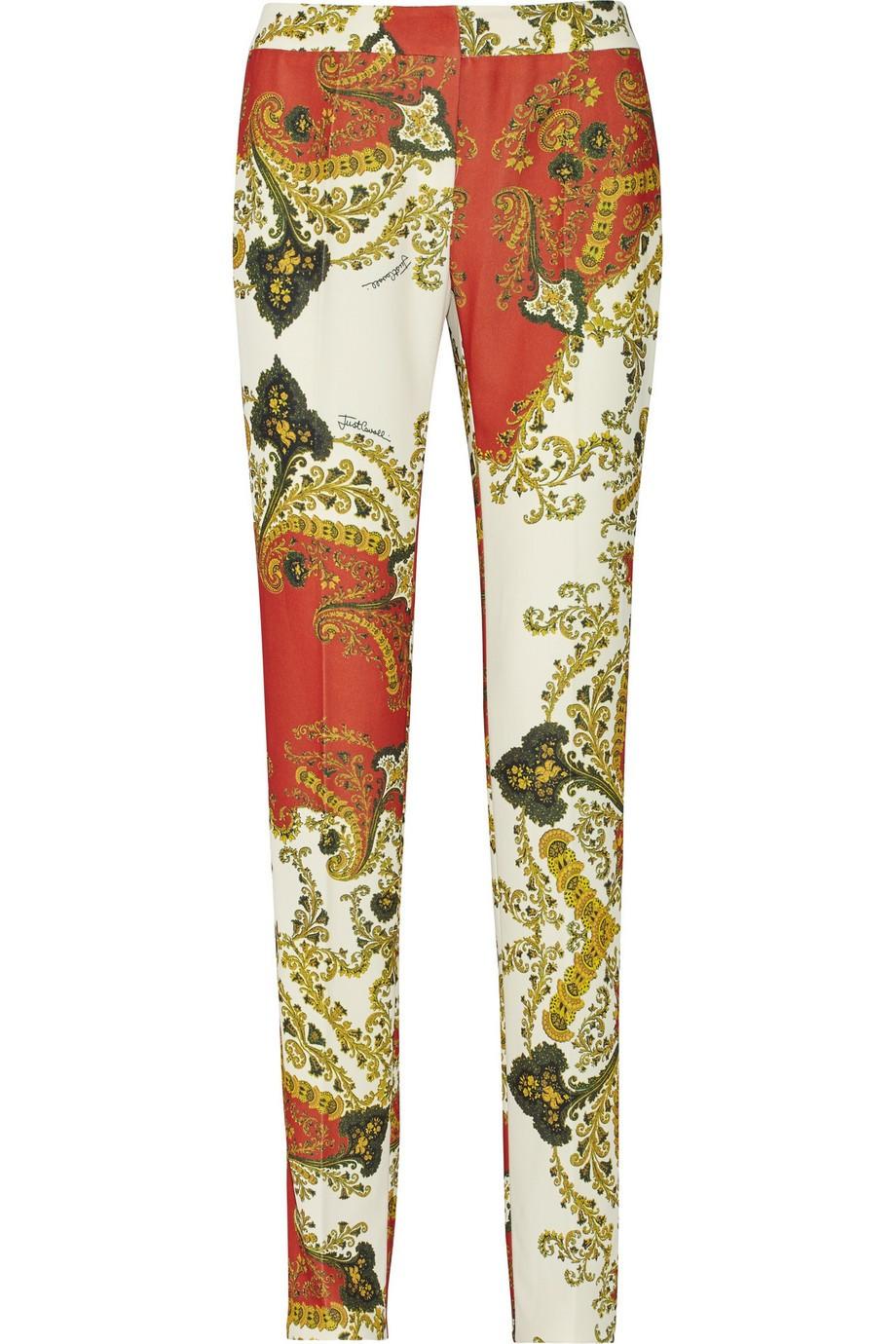 Paneled crepe straight-leg pants