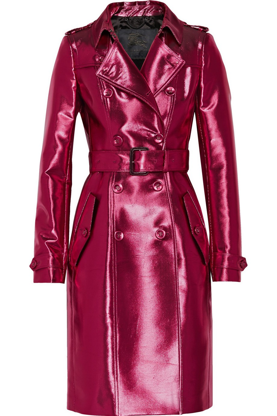 Metallic gabardine trench coat