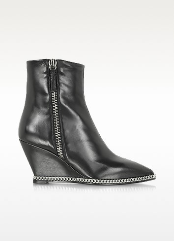 Yvette Black Leather Wedge Boot w/Metal Chain