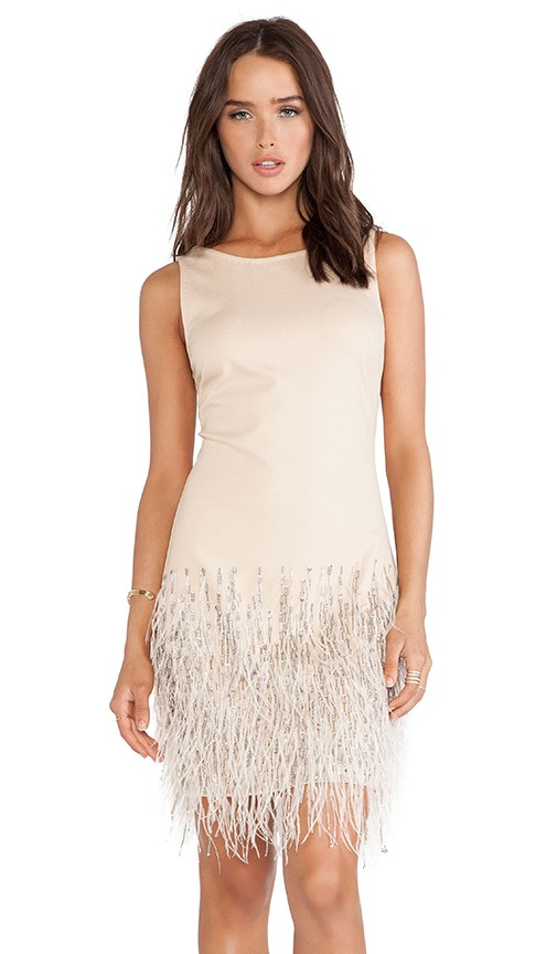 Sleeveless Embellished Dress with Ostrich Feathers