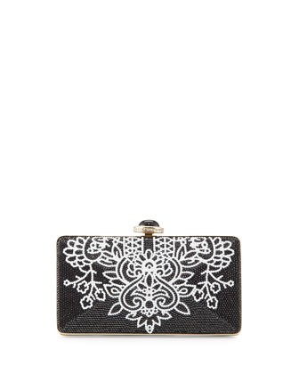 Ashoka Beaded Clutch Bag, Black/White