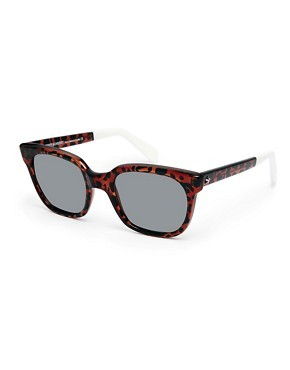 Sheriff & Cherry Wayfarer Sunglasses in Orange Wildcat Print
