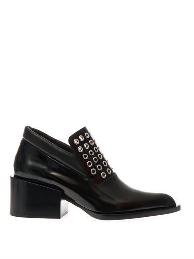 Mid-heel leather loafers