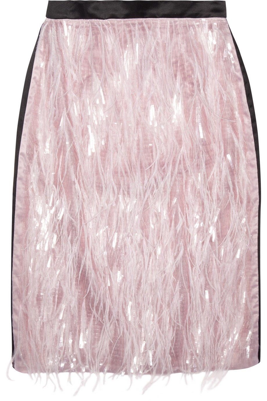Aysha feathered organza and silk skirt