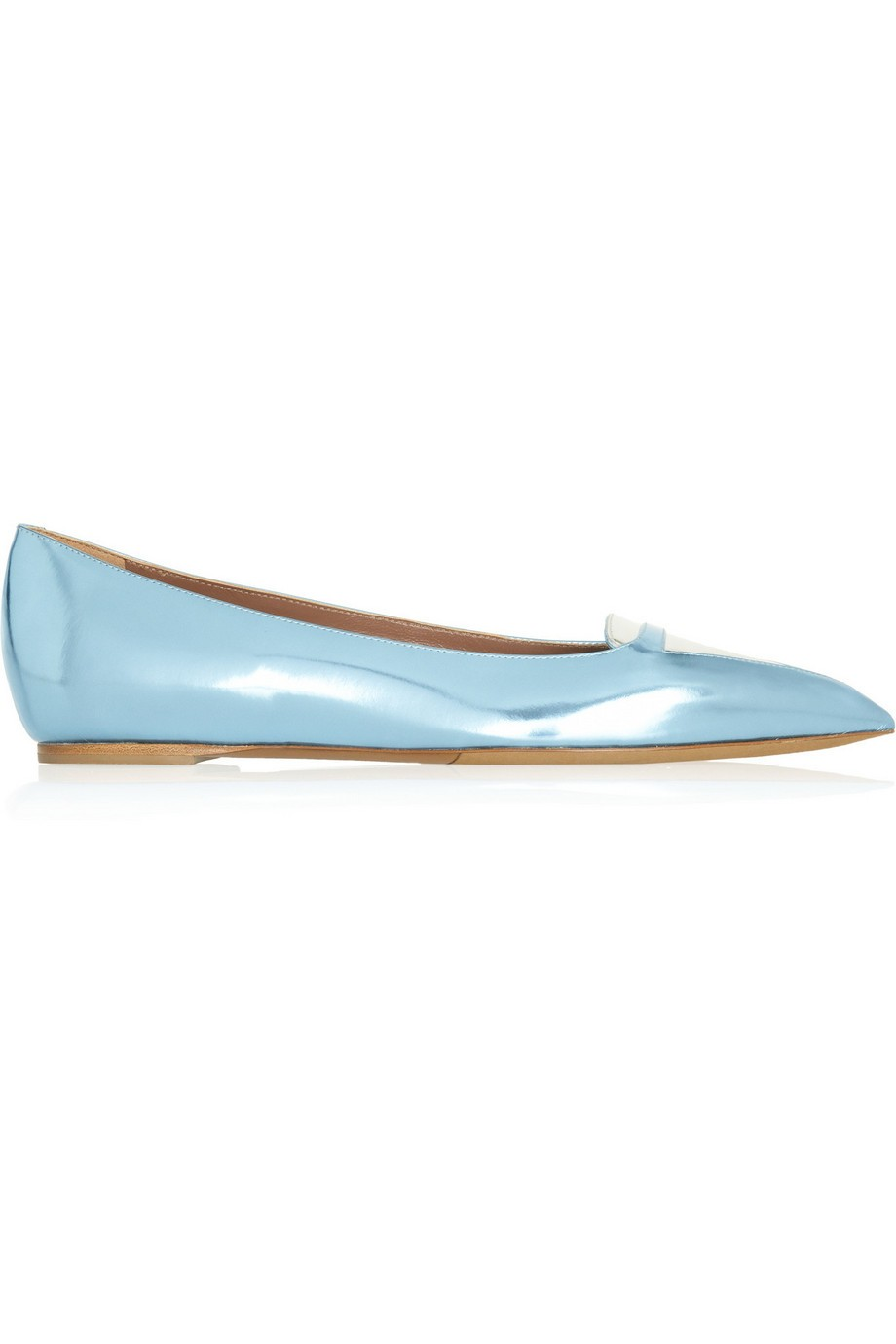 Alexa metallic leather point-toe flats