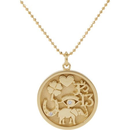 Gold & Diamond Good Luck Charm Necklace