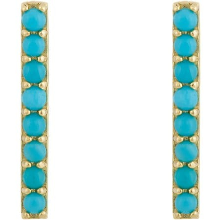 Turquoise Long Bar Stud Earrings