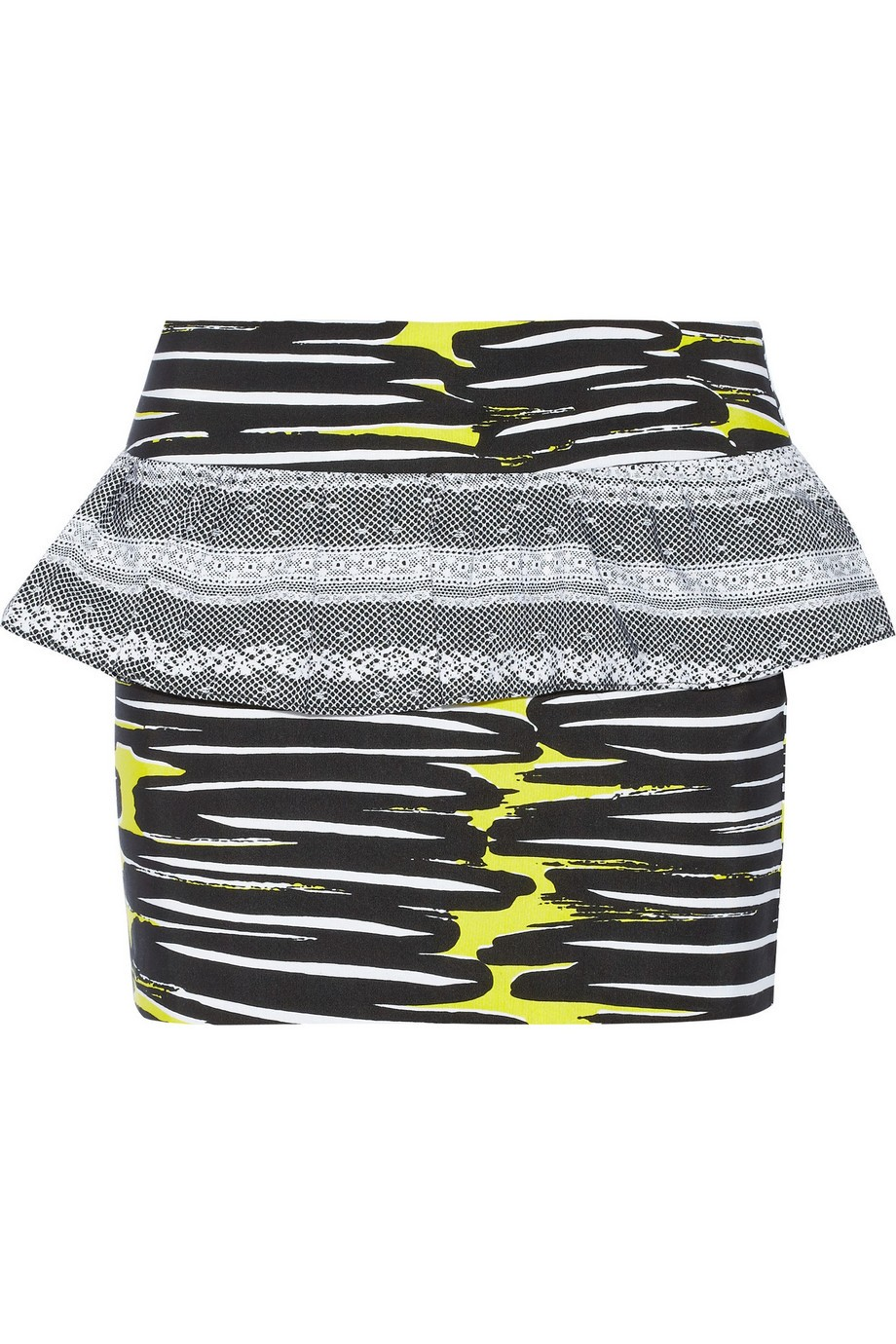 Printed silk-faille mini skirt