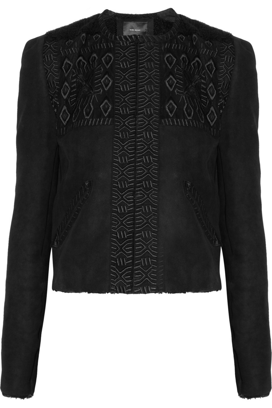Edge embroidered shearling jacket