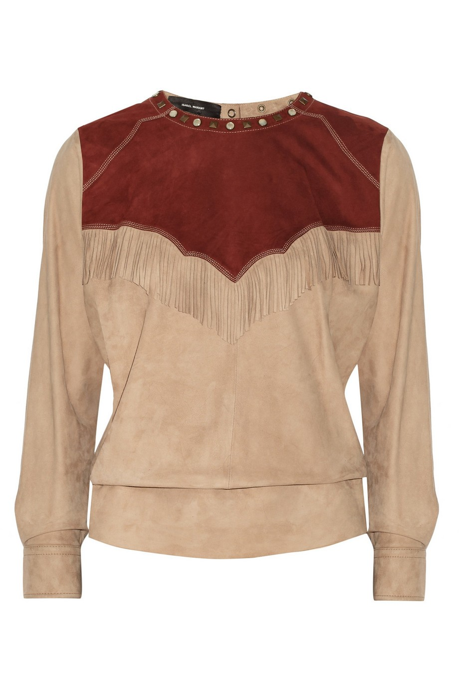 Oliver embellished suede top
