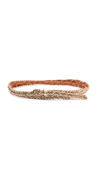 Skinny Duo Tone Double Wrap Braid Belt