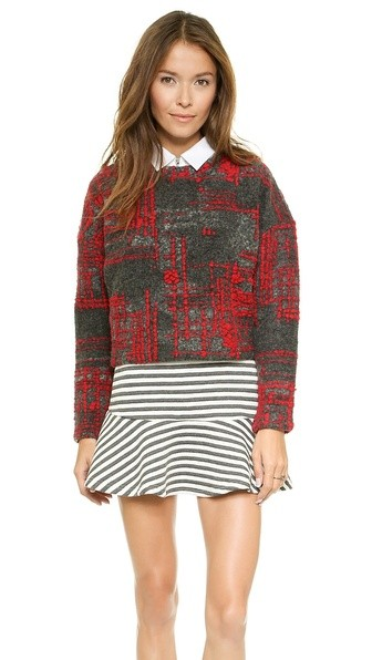 Knit Top with Check Pattern